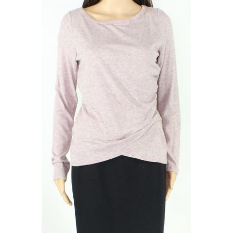 Soprano Womens Top Purple Size Large L Long Sleeve Fleece Side-Ruched