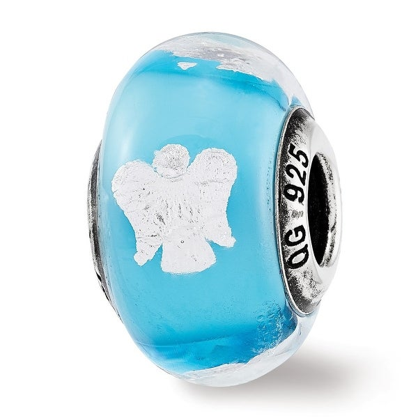 Italian Sterling Silver Reflections Foil Angel Blue Glass Bead (4.5mm Diameter Hole)