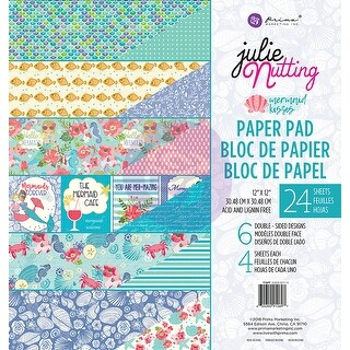 "Prima Marketing Double-Sided Paper Pad 12""X12"" 24/Pkg-Mermaid Kisses, 6 Designs/4 Each"