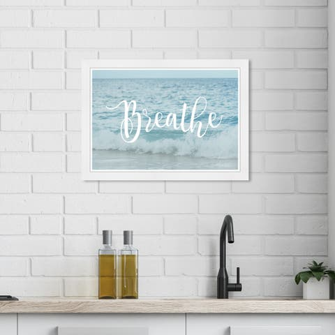 Wynwood Studio 'Ocean Breathe' Nautical and Coastal Blue Wall Art Framed Print