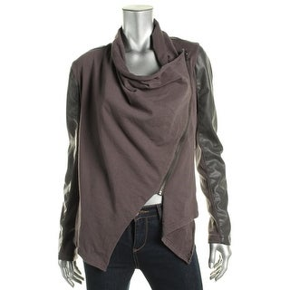 Blank NYC Womens Knit Faux Leather Jacket - M