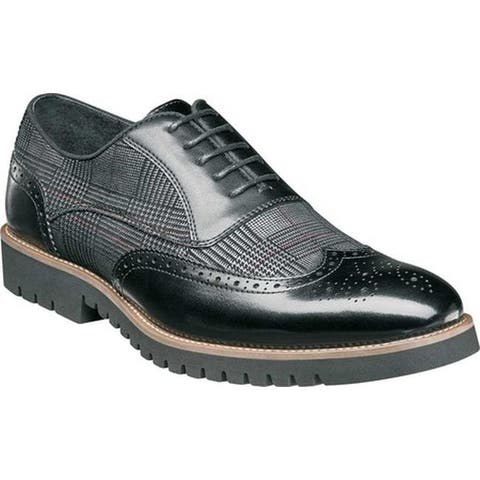 Stacy Adams Men's Baxley Wingtip Oxford Black Smooth Leather/Printed Suede