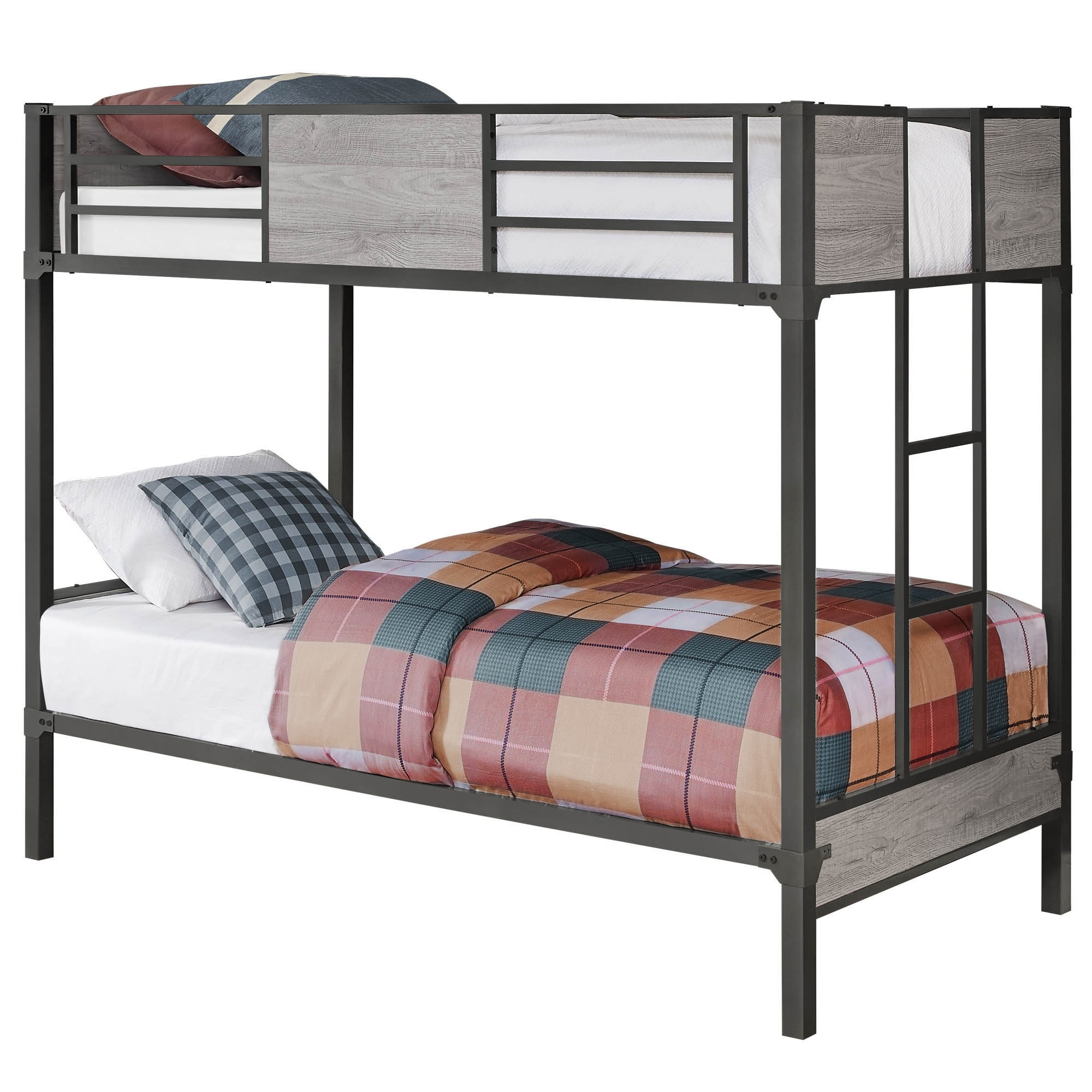Offex Contemporary Bunk Bed Twin Twin Size Grey Dark Grey Metal Overstock 31484172