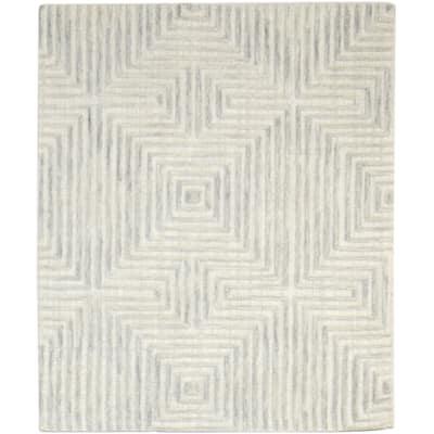 One of a Kind Hand-Tufted Modern 4' x 6' Geometric Wool Grey Rug - 4' x 5'