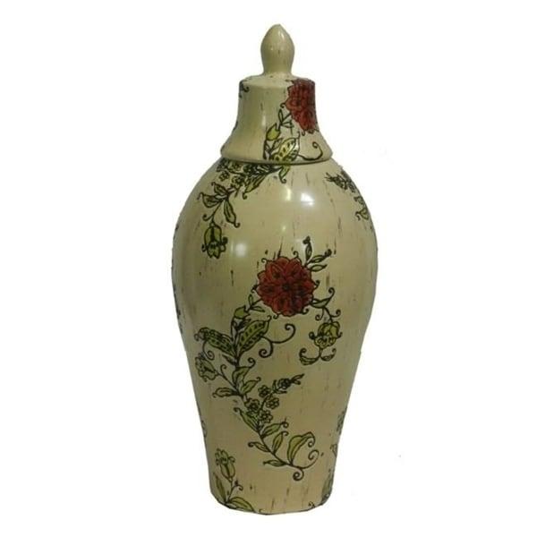 Benzara ETD-EN30860 Beautiful Ceramic Vase Multi-Color - 20.25 x 7.5 x 7.5