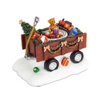 "Pack of 2 Lighted and Musical Wagon Christmas Figurines With 6 Hour Timer 5.25"" - RED"