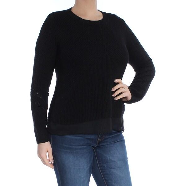 LUCKY BRAND Womens Black Chiffon-hem Long Sleeve Crew Neck Sweater Size: L