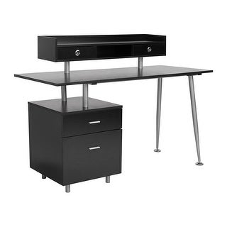 Offex Contemporary Home and Office Desk with 2 Drawers and Top Storage Shelf in Dark Ash Finish