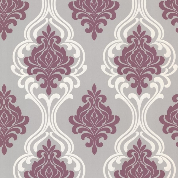 Brewster 2533-20211 Indiana Purple Damask Wallpaper - N/A