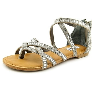 Not Rated Coastin Women Open Toe Canvas Gray Gladiator Sandal