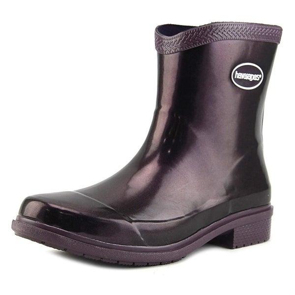 Havaianas Hav Mid Metallic Rain Boot Women W Synthetic Purple Rain Boot