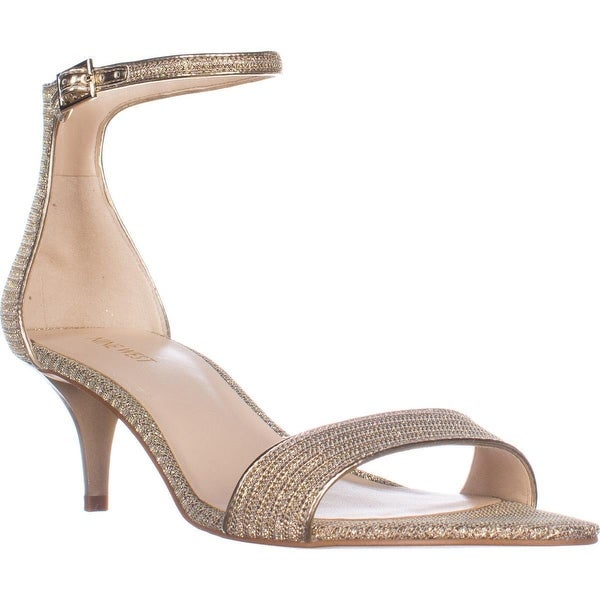 Nine West Leisa Ankle Strap Sandals, White/Gold Combo