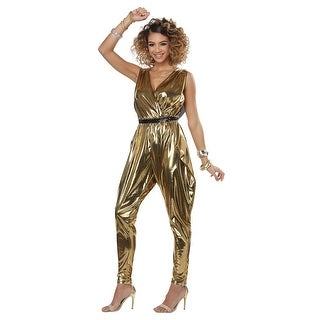 Womens 70's Glitter N Glamour Gold Disco Costume