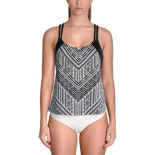 Jantzen Womens Crossing Paths Printed Layered Swim Top Separates
