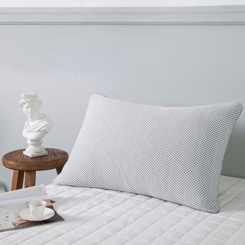 Premium Goose Feather Bed Pillow with Odor and Moisture Absorbing Charcoal Pillowcase - White