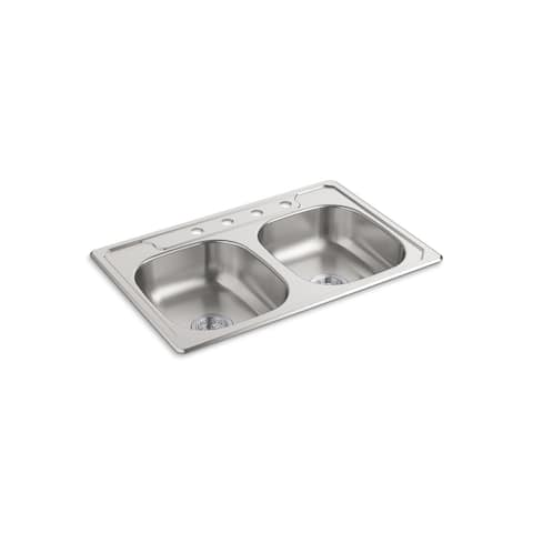 "Sterling Middleton Top-Mount Double-Bowl Kitchen Sink, 33"" x 22"" x 6"" (14633-4F-NA)"
