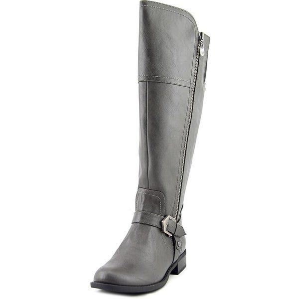 G By Guess Hailee Wide Calf Round Toe Leather Knee High Boot