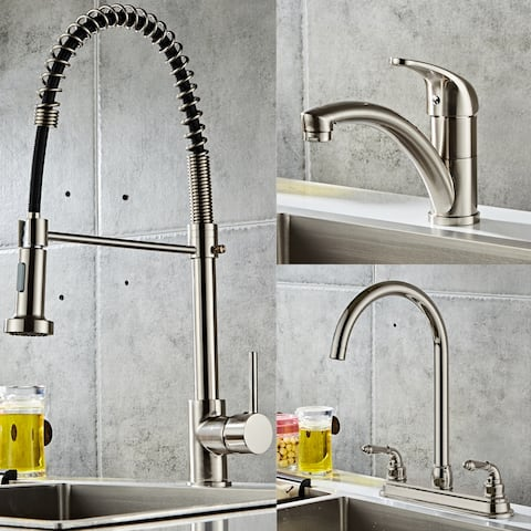 Kitchen Fixed Faucet Stainless Steel Kitchen Sink Faucet 3 Styles