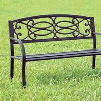 Armrests Patio Bench, Black