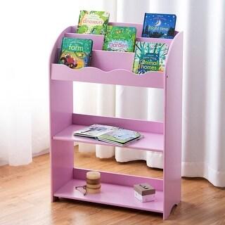 Gymax Kids Teen Bookshelf Magazine Storage Bookcase 3-Tiers Furniture Gift Study Pink