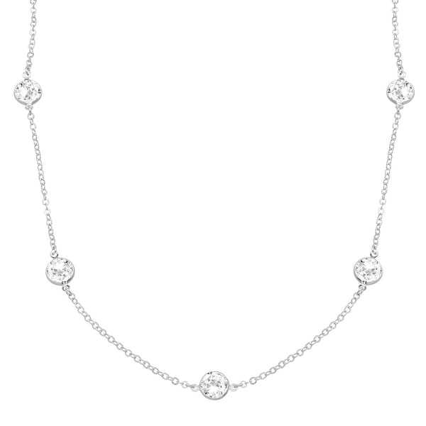 Crystaluxe Station Necklace with Swarovski Crystals in Sterling Silver - White