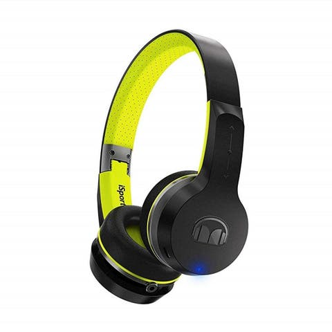 Monster iSport Freedom Wireless On-Ear Headphones w/Mic & 3.5mm Cable, Green (Certified Refurbished)