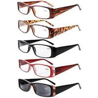 Eyekepper 5-Pack Spring Hinges Rectangular Reading Glasses Sun Reader