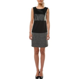 Calvin Klein Womens Faux Leather Multimedia Cocktail Dress