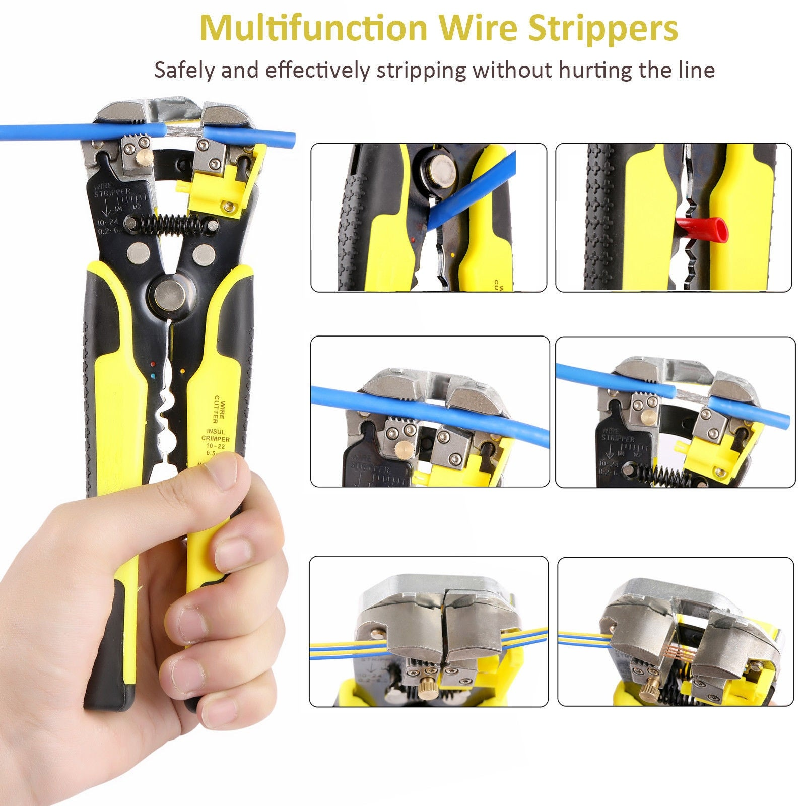 Self-adjusting Wire Cutter Stripper Plier Electrical Cable Crimper Terminal Tool