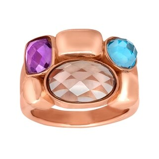 4 ct Multi-Stone Ring in 18K Rose Gold-Plated Bronze - Brown