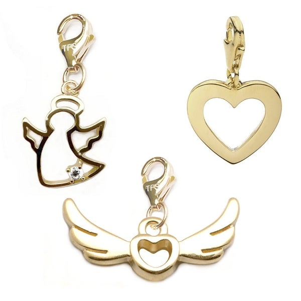 Julieta Jewelry Wings Of Love, Angel, Heart 14k Gold Over Sterling Silver Clip-On Charm Set