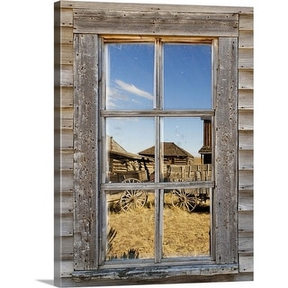 """""""Reflection in window of old western town"""" Canvas Wall Art"""