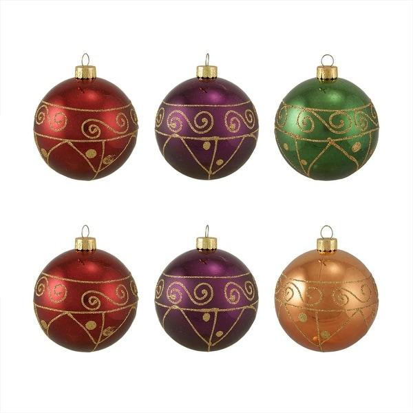 "6ct Glittered Earth Tone Swirly Shatterproof Christmas Ball Ornaments 3.25"" 80mm"