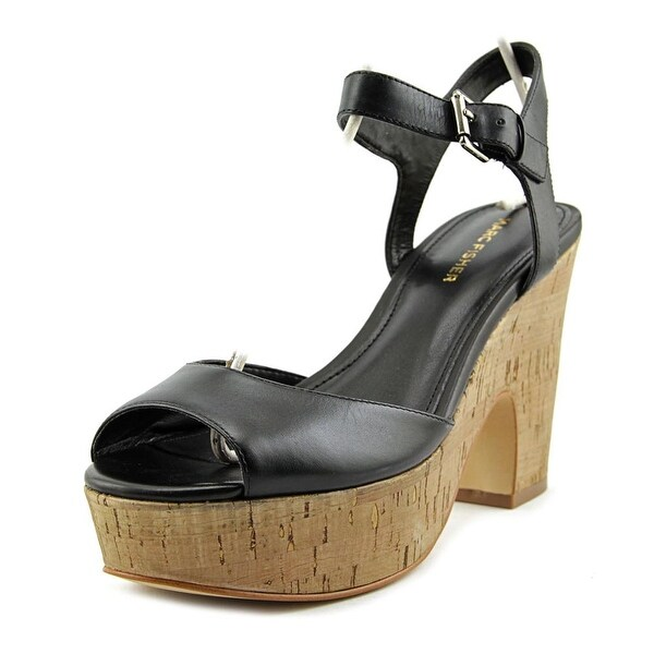 Marc Fisher Calia 2 Women Open Toe Leather Black Sandals