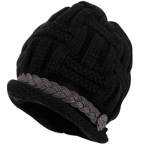 Women Solid Color Warm Winter Stretchy Black Knit Beanie Hat