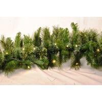 Christmas at Winterland WL-GARBM-09-LWW 9 Foot Pre-Lit Warm White LED  Blended Pine Garland Indoor / Outdoor - Warm White - N/A