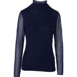 Elie Tahari Womens Maxine Merino Wool Sheer Sleeves Pullover Sweater