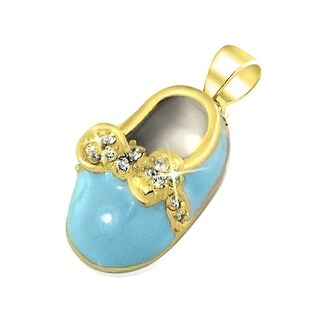 Bling Jewelry Gold Plated .925 Silver Blue Enamel CZ Bow Baby Shoe Charm