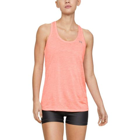 Under Armour Womens Tech Twist Tank Top, Peach Plasma (836)/Metallic Silver, Medium