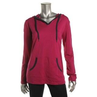 Karen Scott Womens Hoodie Stretch Long Sleeves - S