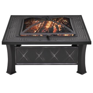 Costway 32'' Square Metal Firepit Patio Garden Stove Fire Pit Outdoor Brazier With Poker