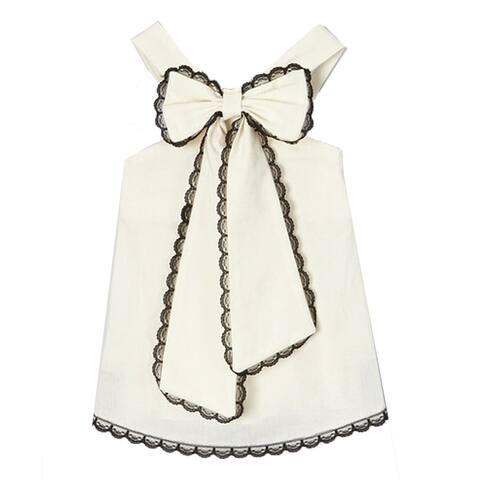 Little Girls Ivory Black Scalloped Lace Trim Bow Accent Sleeveless Shirt 12M-6