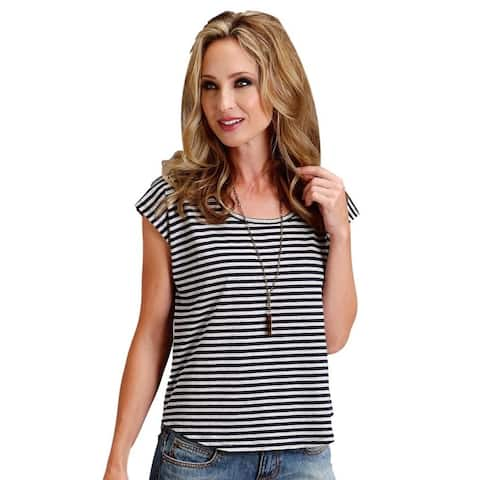 Stetson Western Shirt Womens S/S Tee Navy White