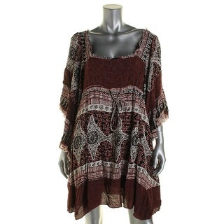 Free People Womens Tunic Top Printed Batwing Sleeves Red XS