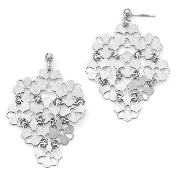 Italian Sterling Silver Brushed Flower Post Dangle Earrings