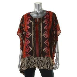 Vince Camuto Womens Serengeti Printed Keyhole Poncho Top