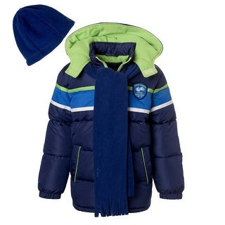 Ixtreme Boys Hooded Winter Puffer Bubble Jacket Coat with Matching Hat & Scarf