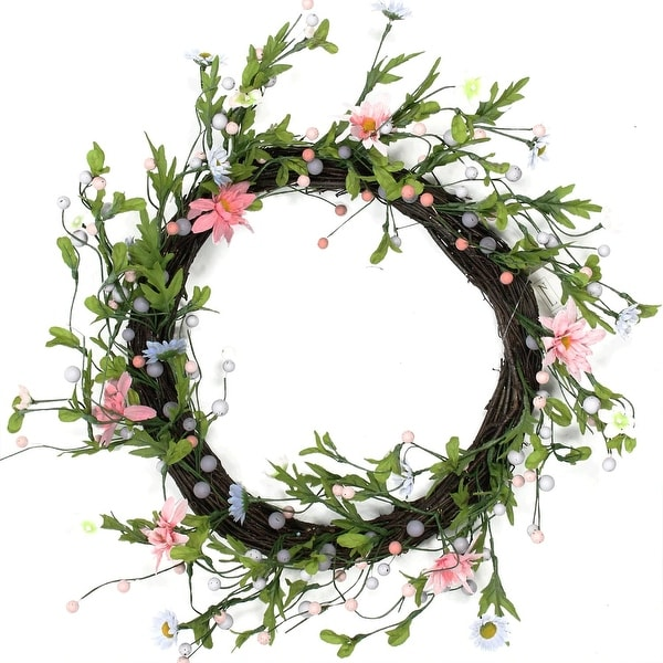 "15"" Green, Pink and Purple Artificial Spring Floral Twig Wreath"