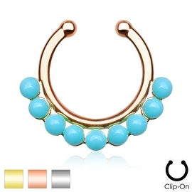 Single Lined Turquoise Color Beads Non-Piercing Septum Hanger (Sold Ind.)