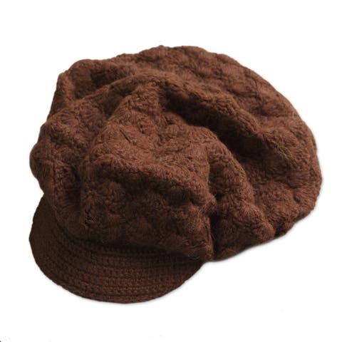 NOVICA Chestnut CapWool hat